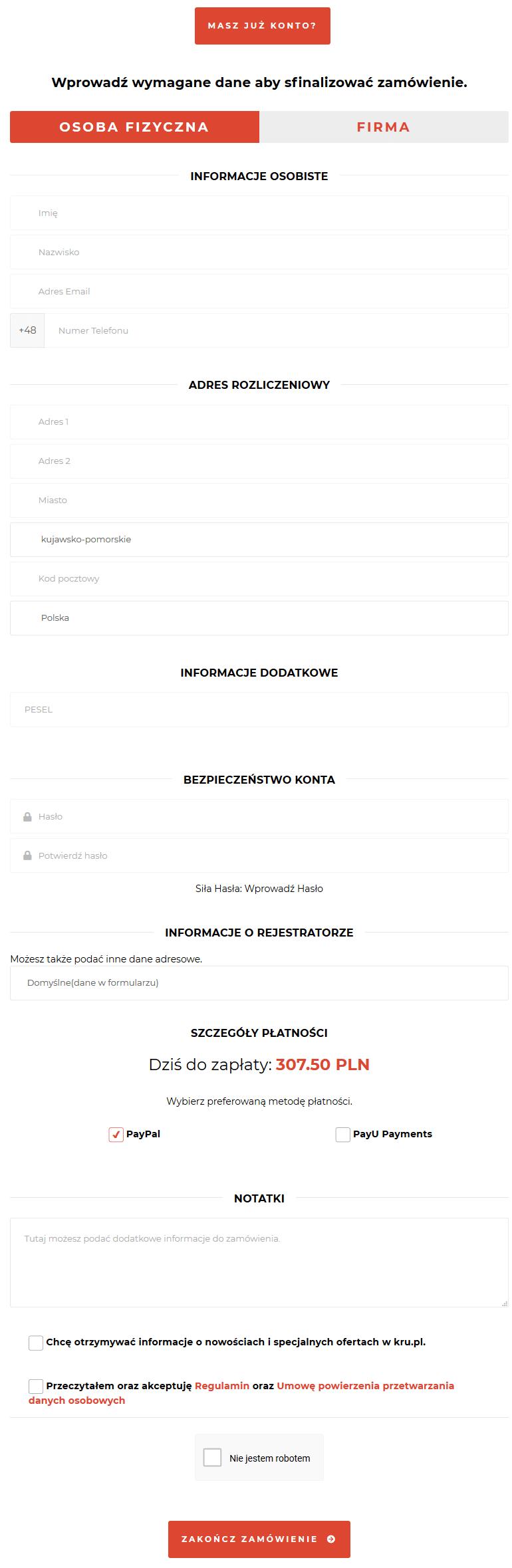 Zamawianie Biznes Hosting w Kru.pl