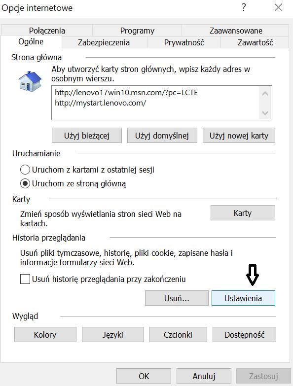 Czyszczenie pamięci podręcznej i plików cookie w przeglądarce