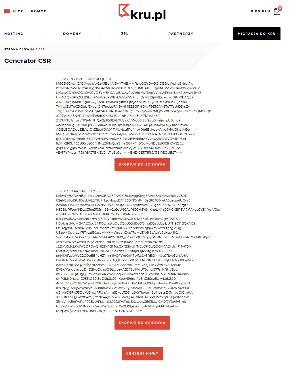 Generowanie kodu CSR w Kru.pl