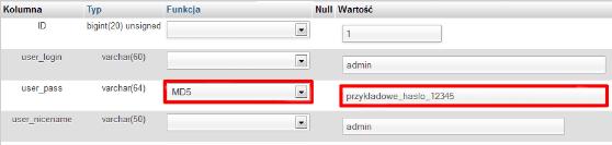 Zmiana hasła do konta WordPress za pomocą bazy danych MySQL