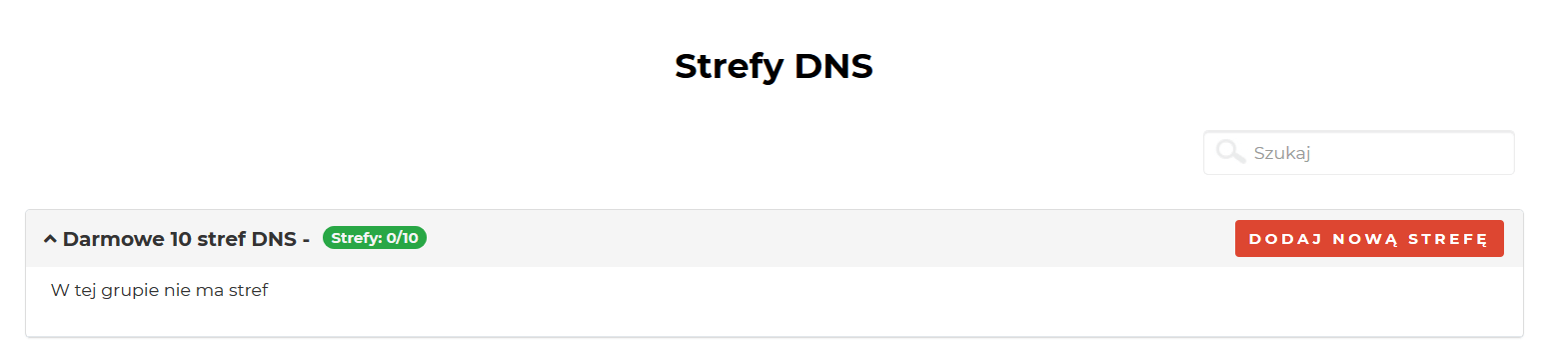Dodawanie strefy DNS