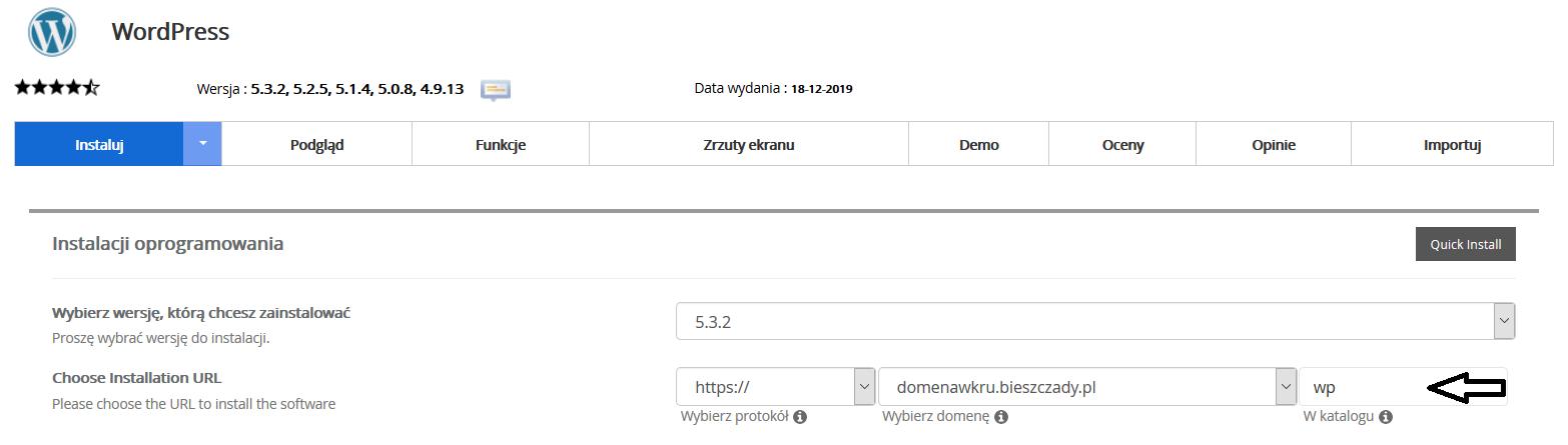 Instalacja WordPress bezpośrednio w Panelu Zarządzania hostingiem w Kru.pl