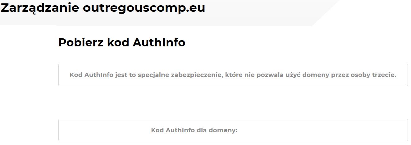 Jak uzyskać kod AuthInfo