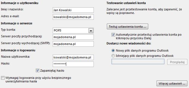 Konfiguracja e-mail w Microsoft Outlook