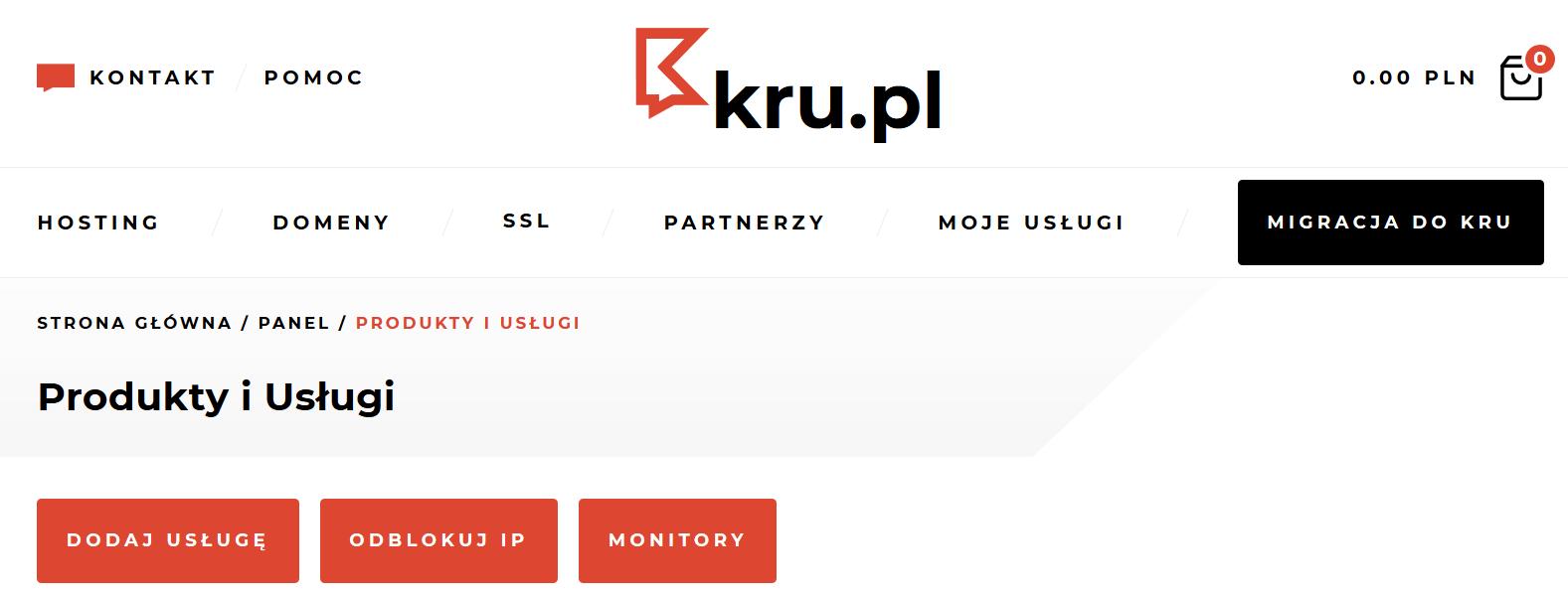 Odblokowanie adresu IP w Kru.pl
