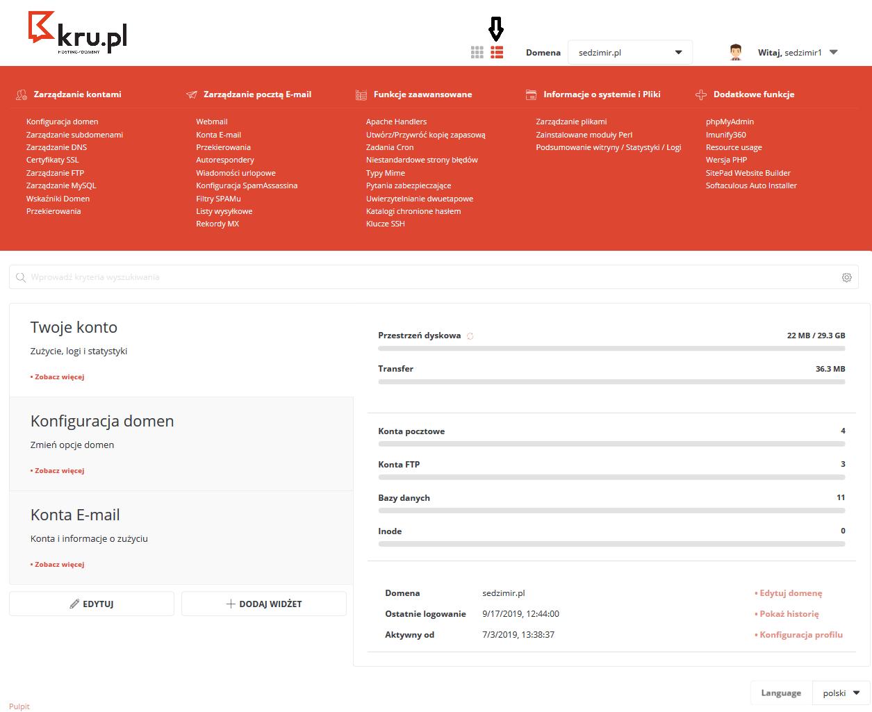 Opis pulpitu Panelu Zarządzania hostingiem w Kru.pl