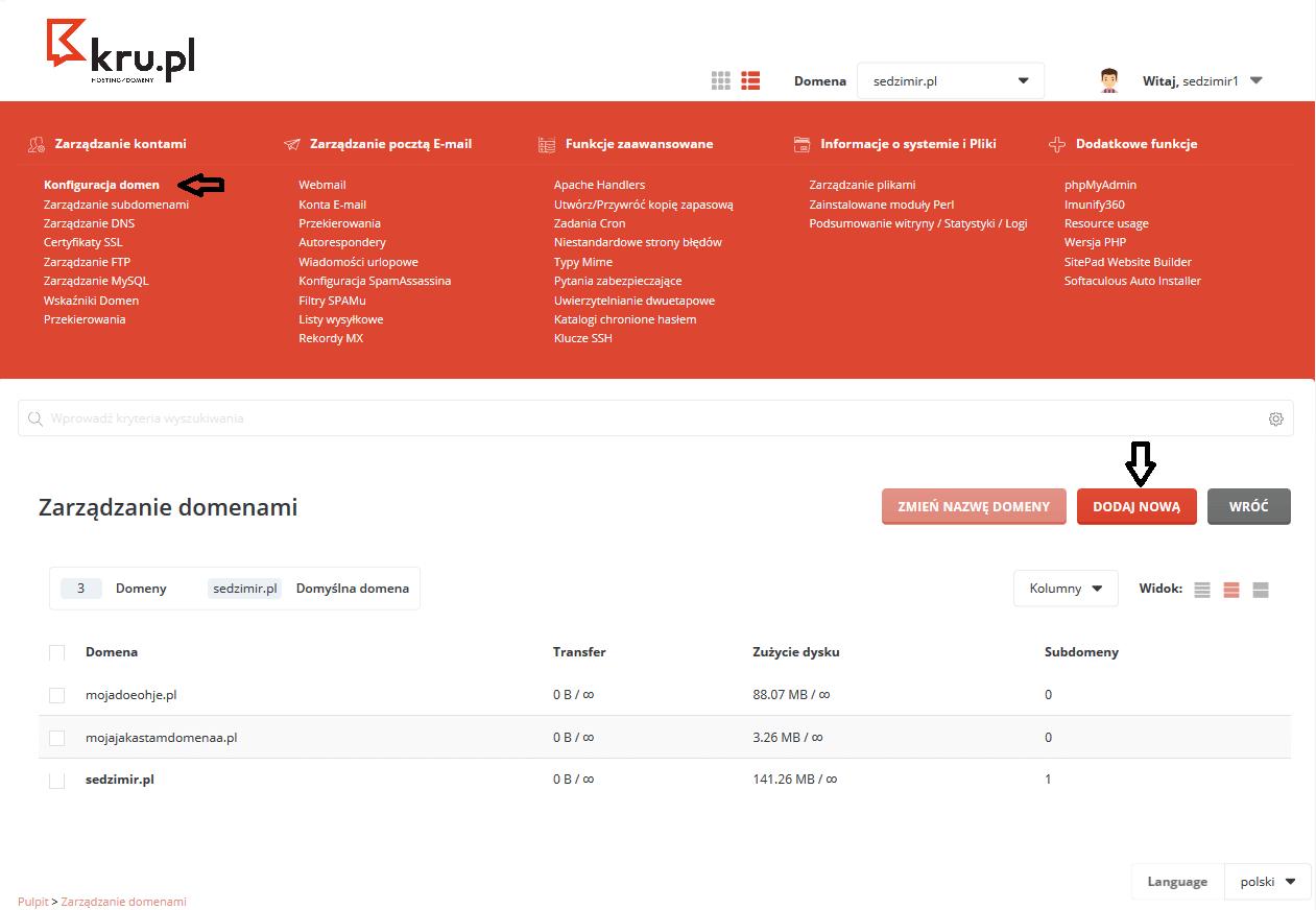 Dodawanie nowej domeny do Panelu Zarządzania hostingiem w Kru.pl
