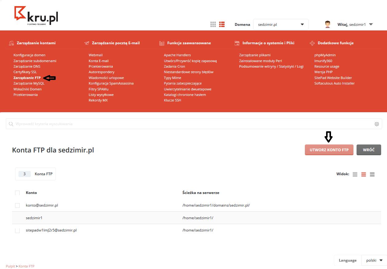 Tworzenie konta FTP