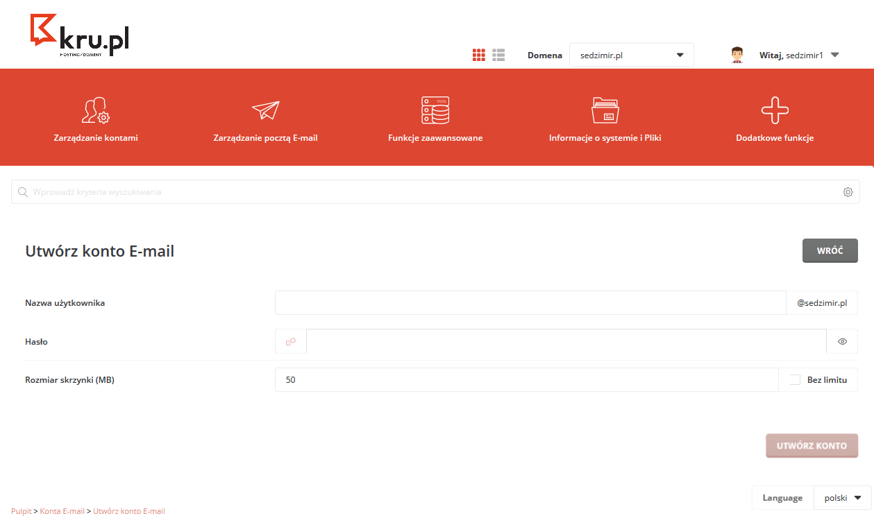 Tworzenie konta e-mail