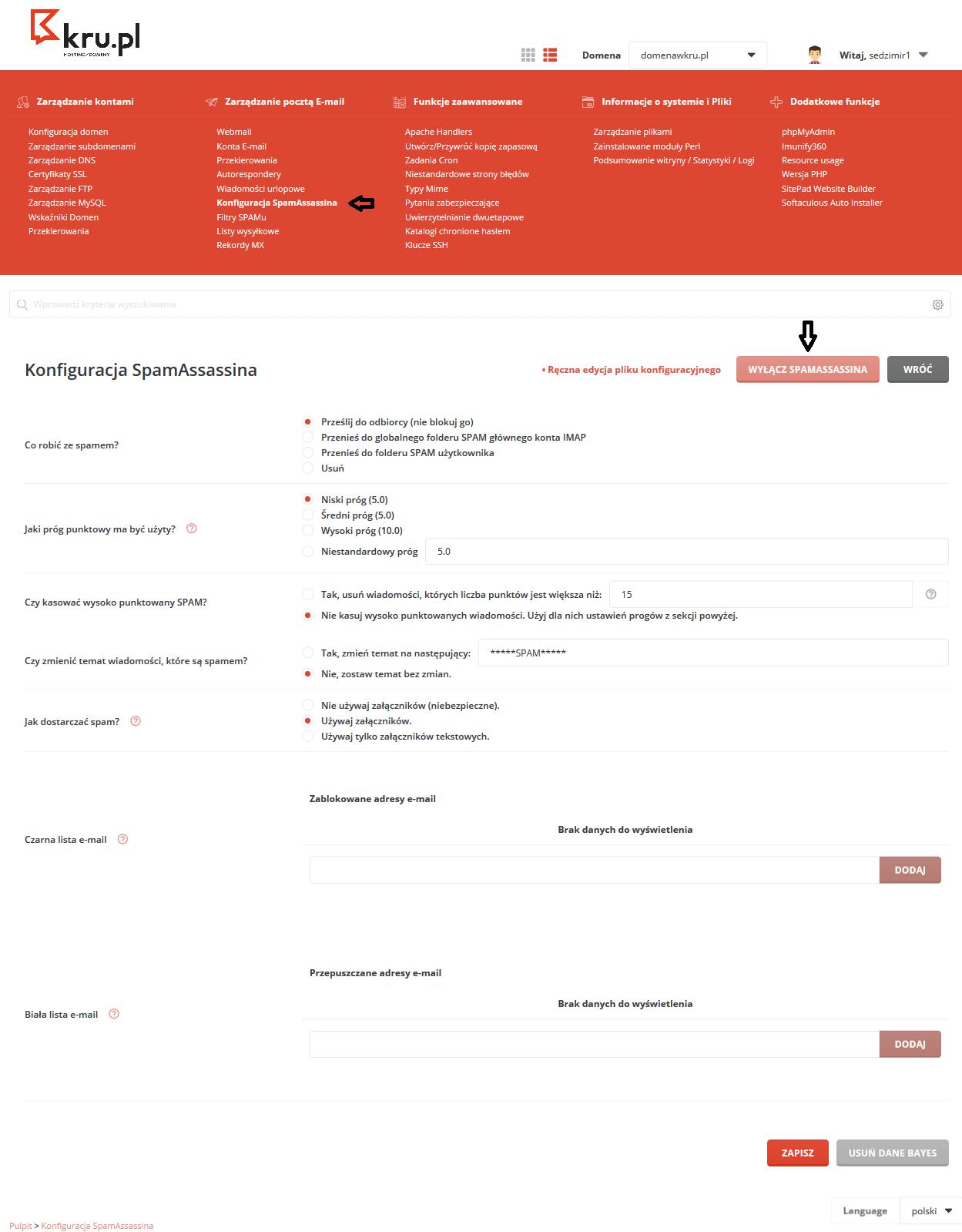Konfiguracja SpamAssassin