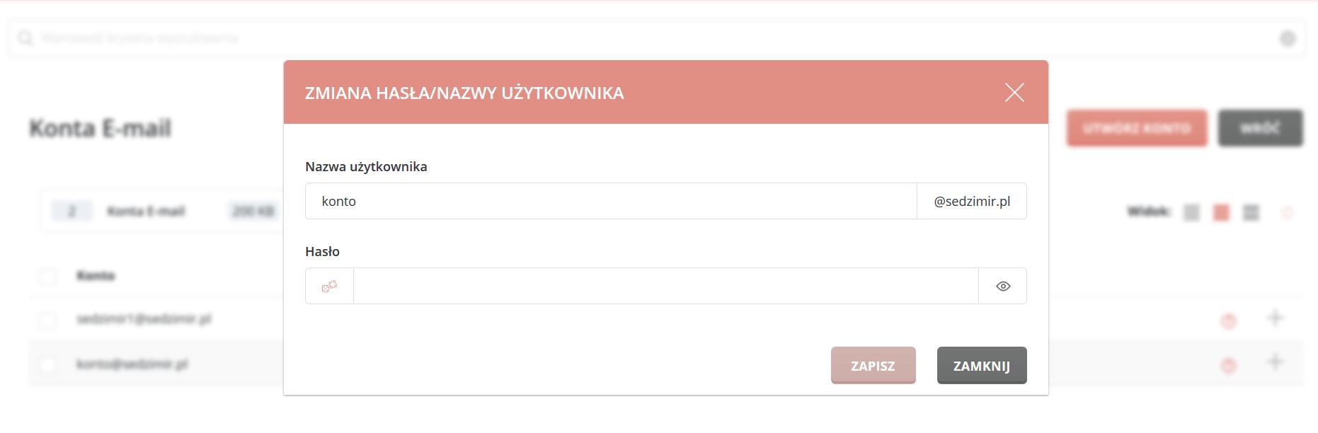 Zmiana  hasła do konta e-mail utworzonego w Kru.pl