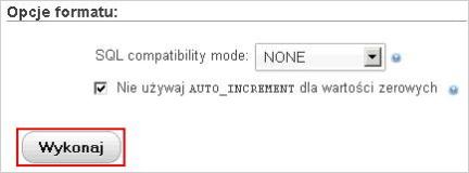 Import bazy danych MySQL przez phpMyAdmin