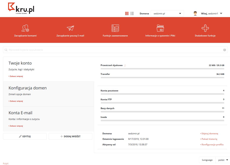 Logowanie do Panelu Zarządzania hostingiem