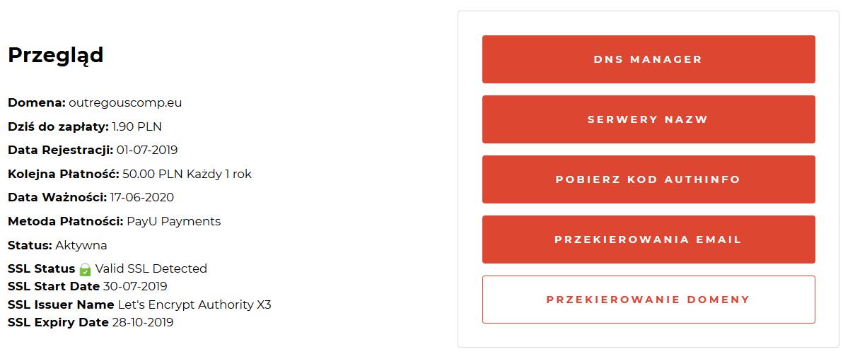 Przekierowanie domeny w Kru.pl