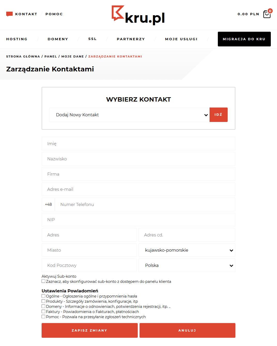 Panel Klienta Kru.pl - autoryzacja e-mail