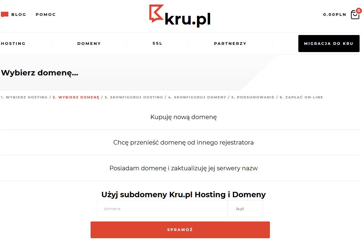 Bezpłatna subdomena do hostingu w Kru.pl