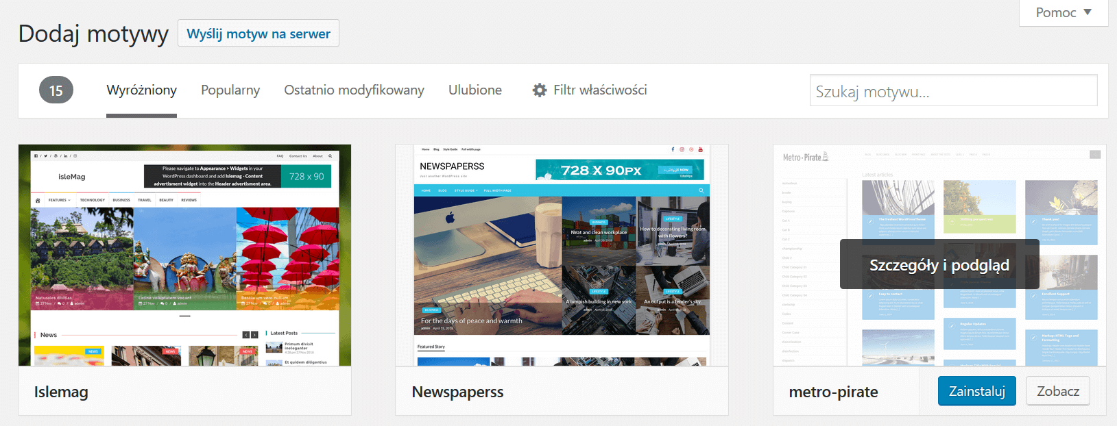 Instalacja szablonu aplikacji WordPress