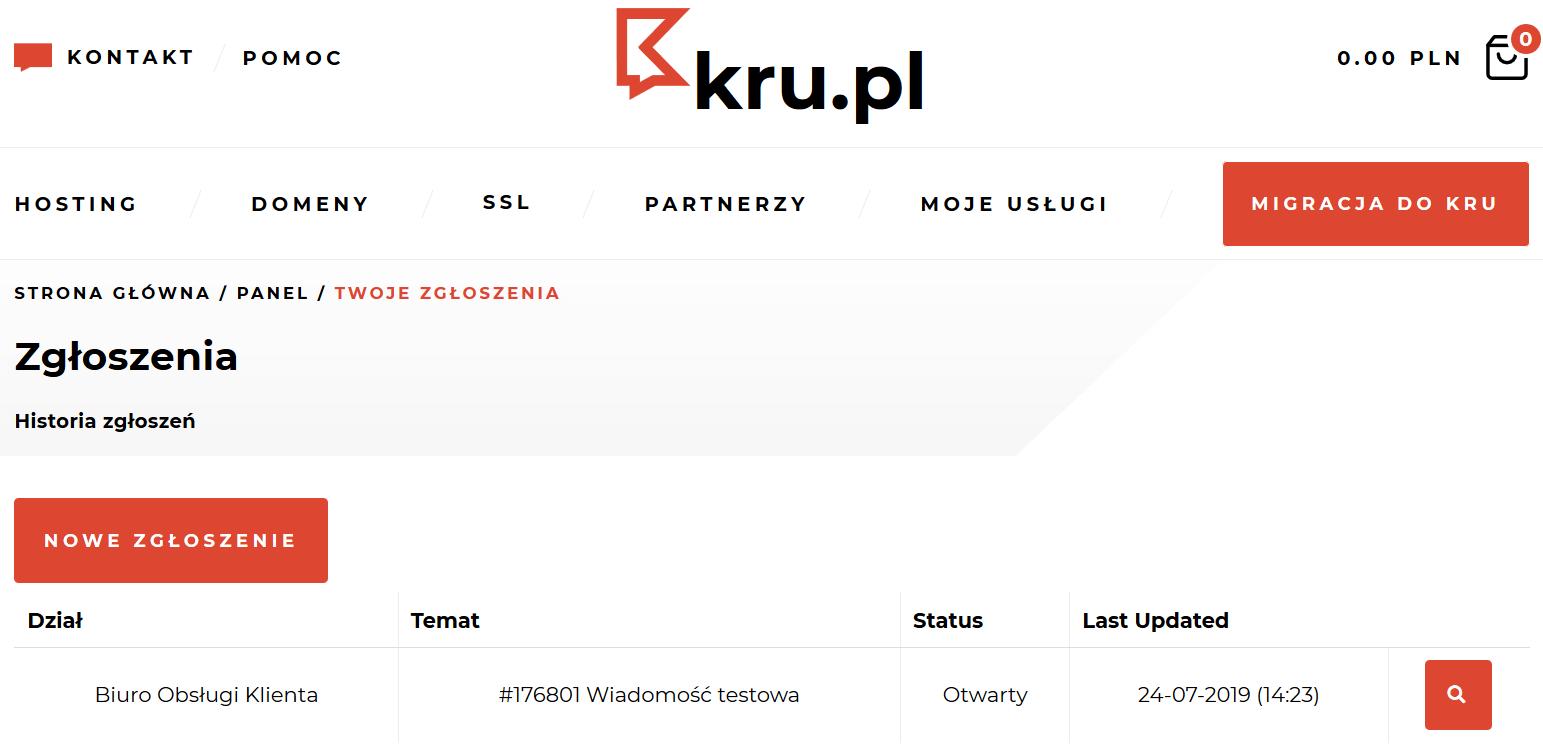 Tworzenie zgłoszenia do Biura Obsługi Klienta w Kru.pl